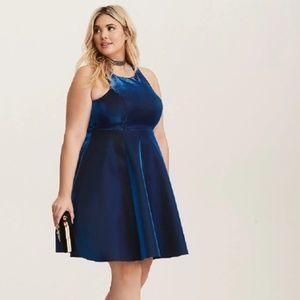 Torrid Blue Metallic Fit and Flare Dress